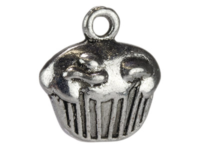 Silver Tone Cupcakes, 10x12mm,     Pack of 20