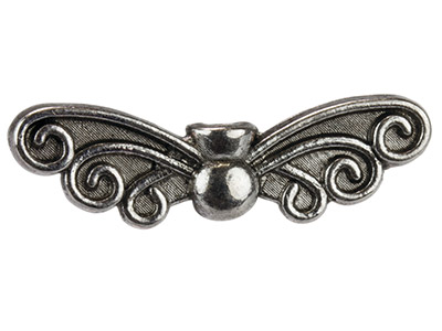 Silver-Tone-Wings,-7x22mm,---------Pa...