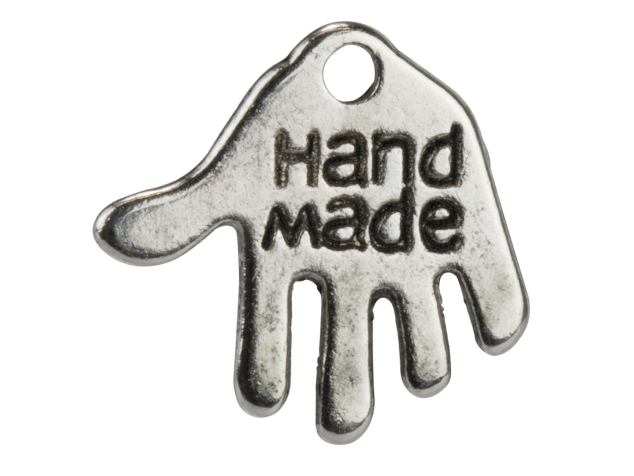 Silver Tone 'hand Made' Hand,      12x13mm, Pack of 50