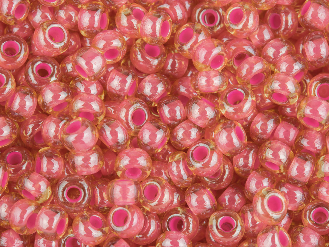 Czech 8/0 Seed Beads, Pink Lined   Lustred, 20g Pack