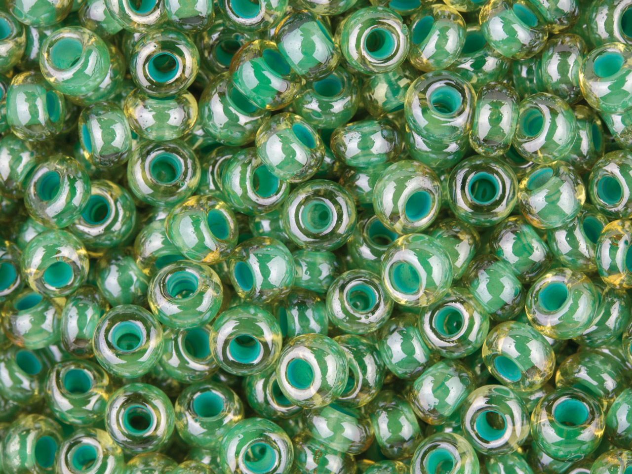 Czech 8/0 Seed Beads, Turquoise    Lined Lustred, 20g Pack