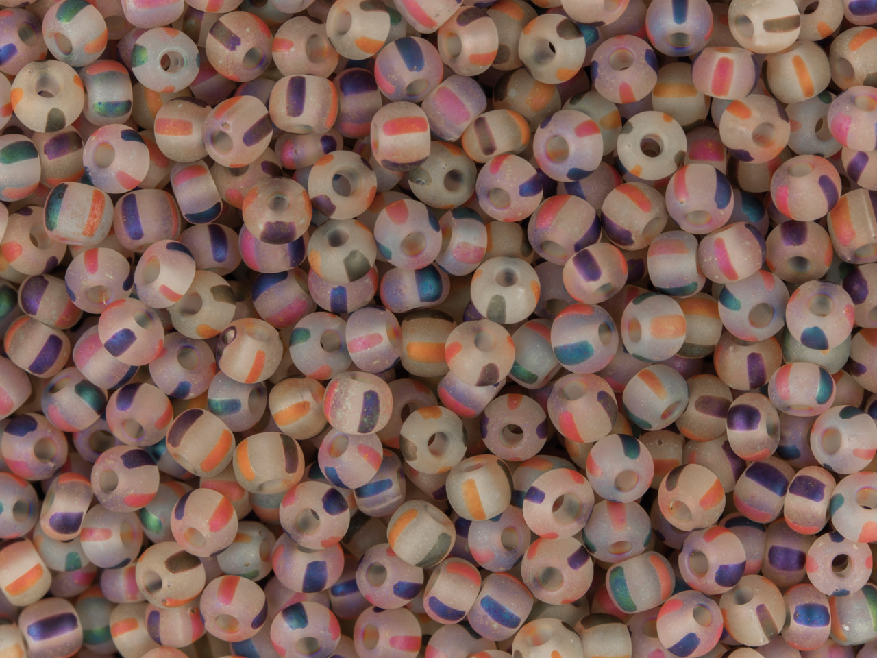 Czech 8/0 Seed Beads, Crystal      Striped Matte Rainbow, 20g Pack