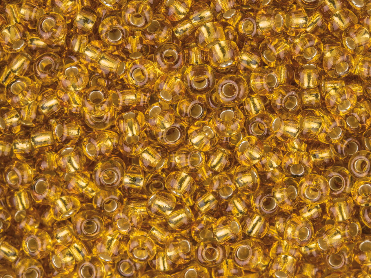 Czech 8/0 Seed Beads, Silver Lined Gold, 20g Pack