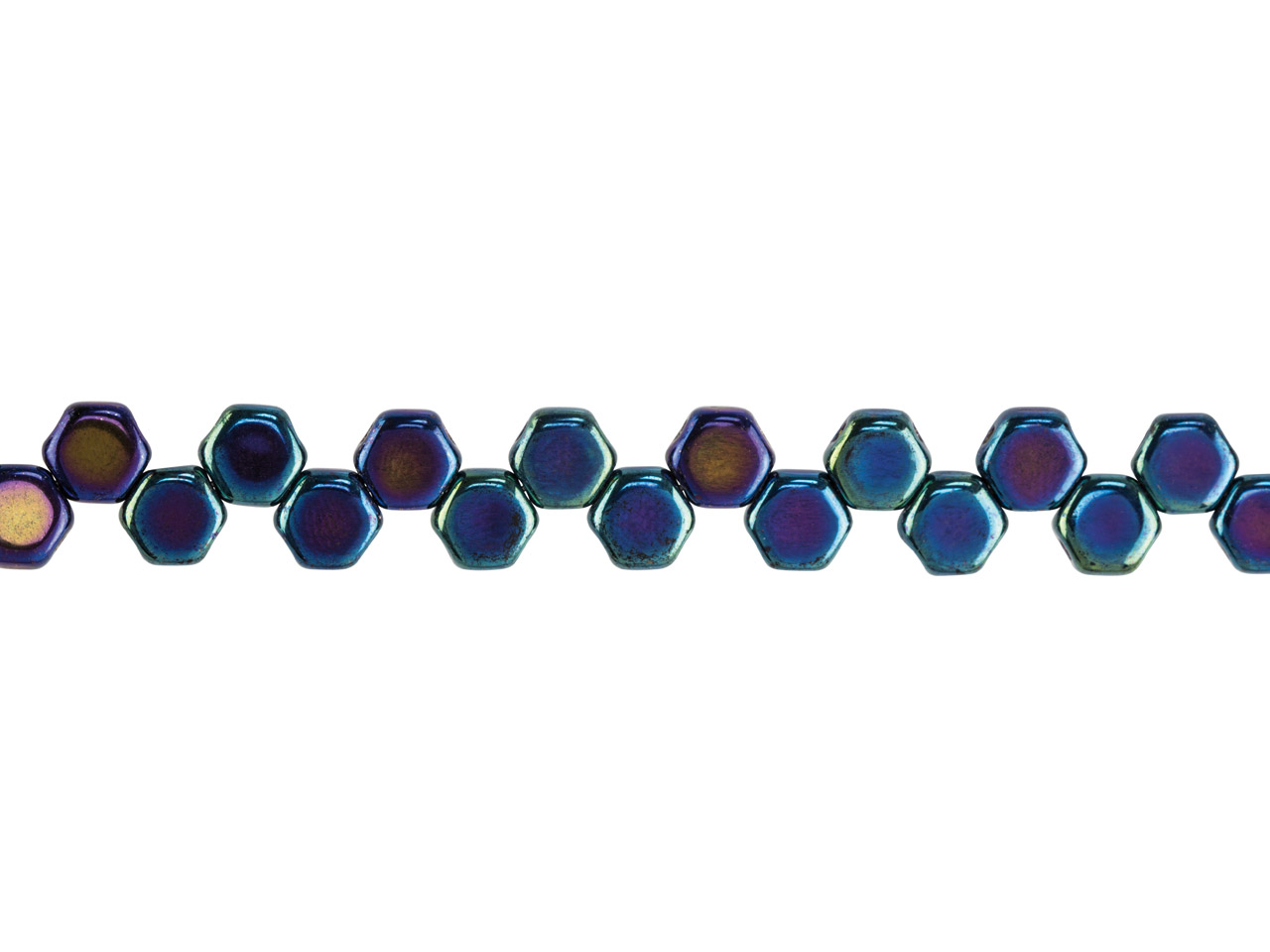 Honeycomb 6mm Czech Beads, Jet Blue Iris, Strand Of 30 Beads