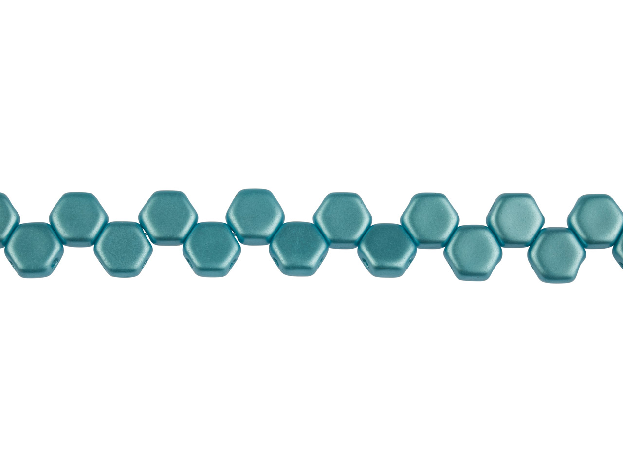 Honeycomb 6mm Czech Beads, Pastel  Aqua, Strand Of 30 Beads