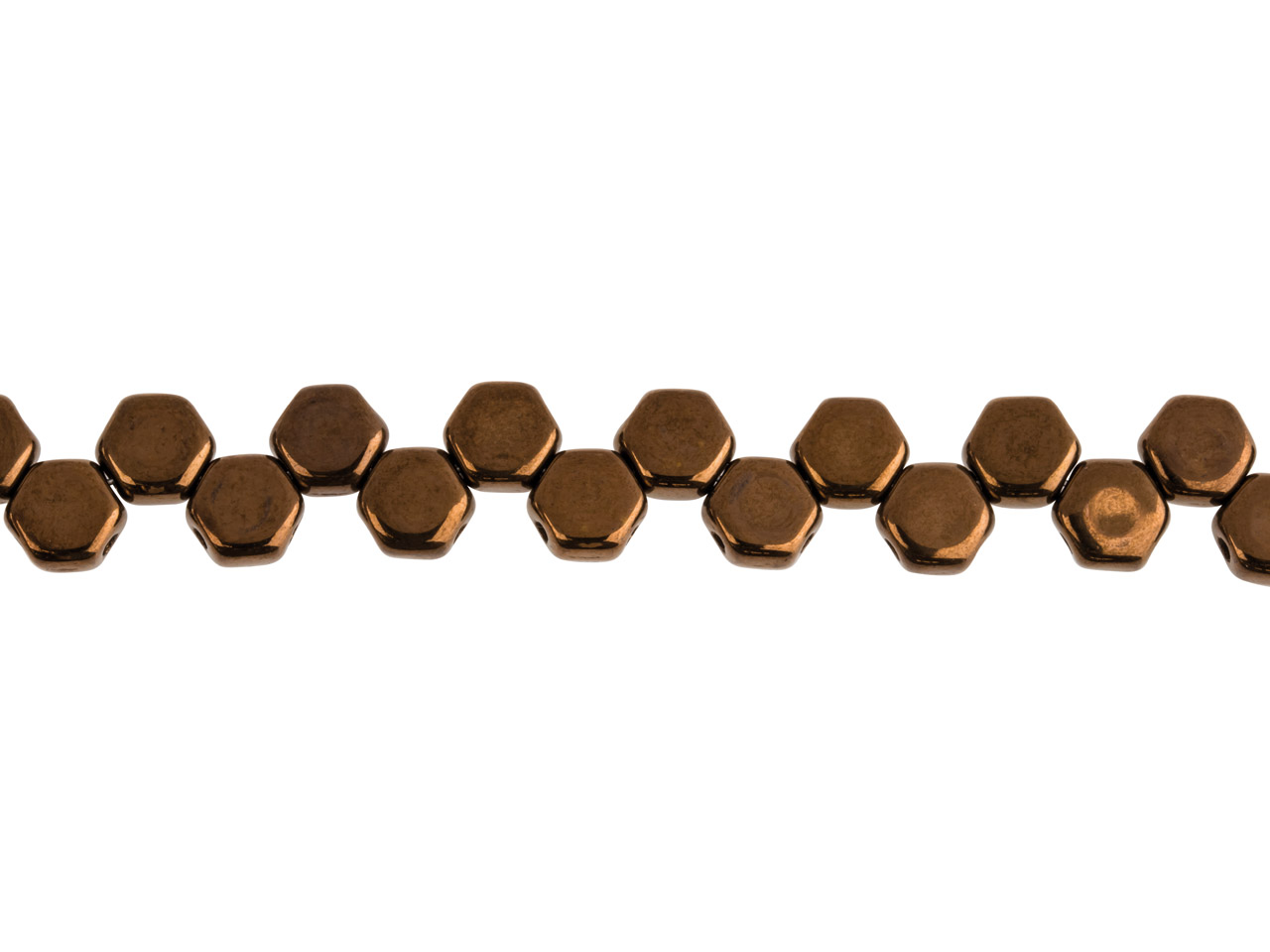 Honeycomb 6mm Czech Beads, Jet     Bronze, Strand Of 30 Beads