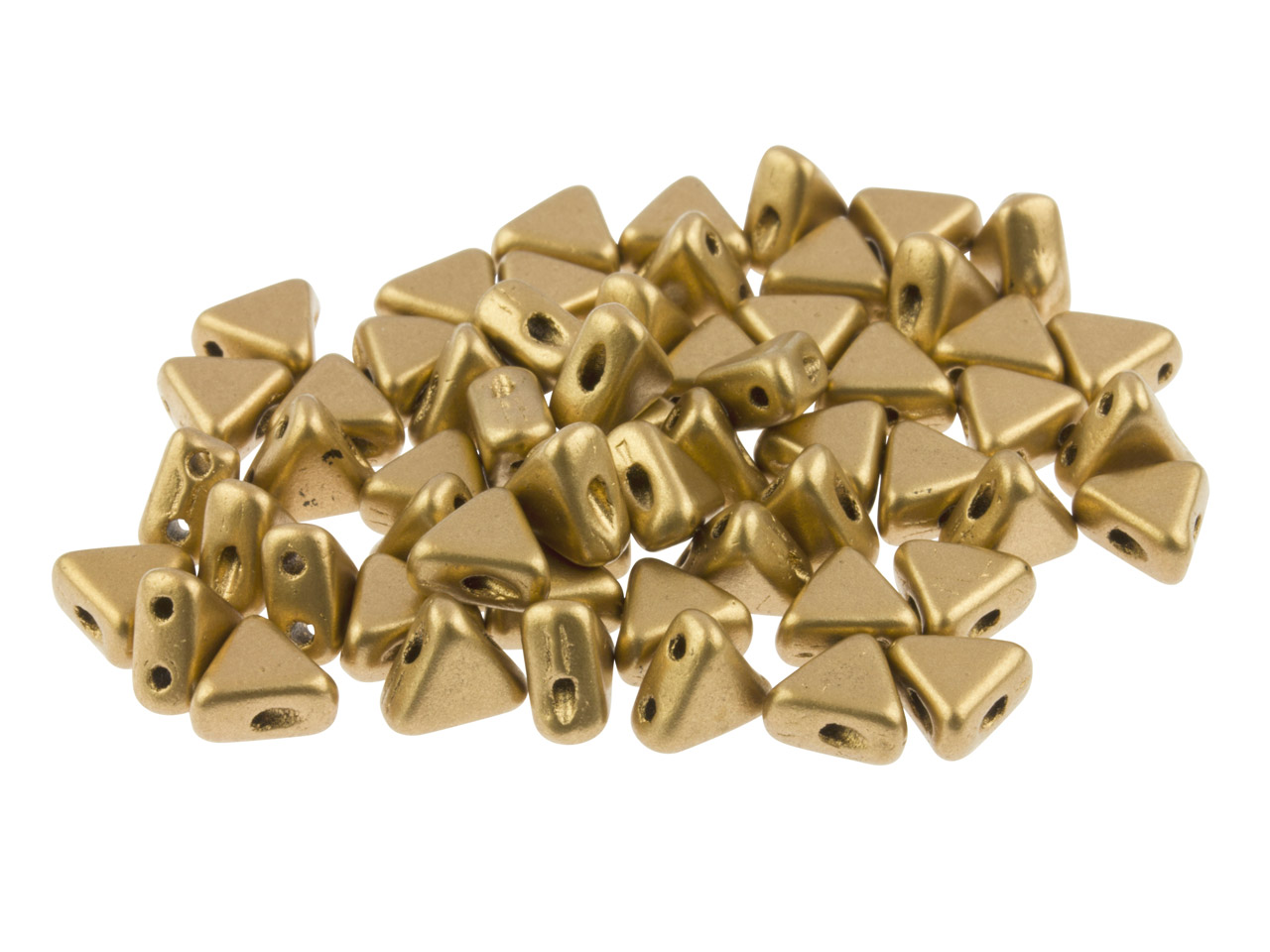 Kheops Puca 6mm Czech Beads, Light Gold Matte, 9g Tube, Two-holed     Beads