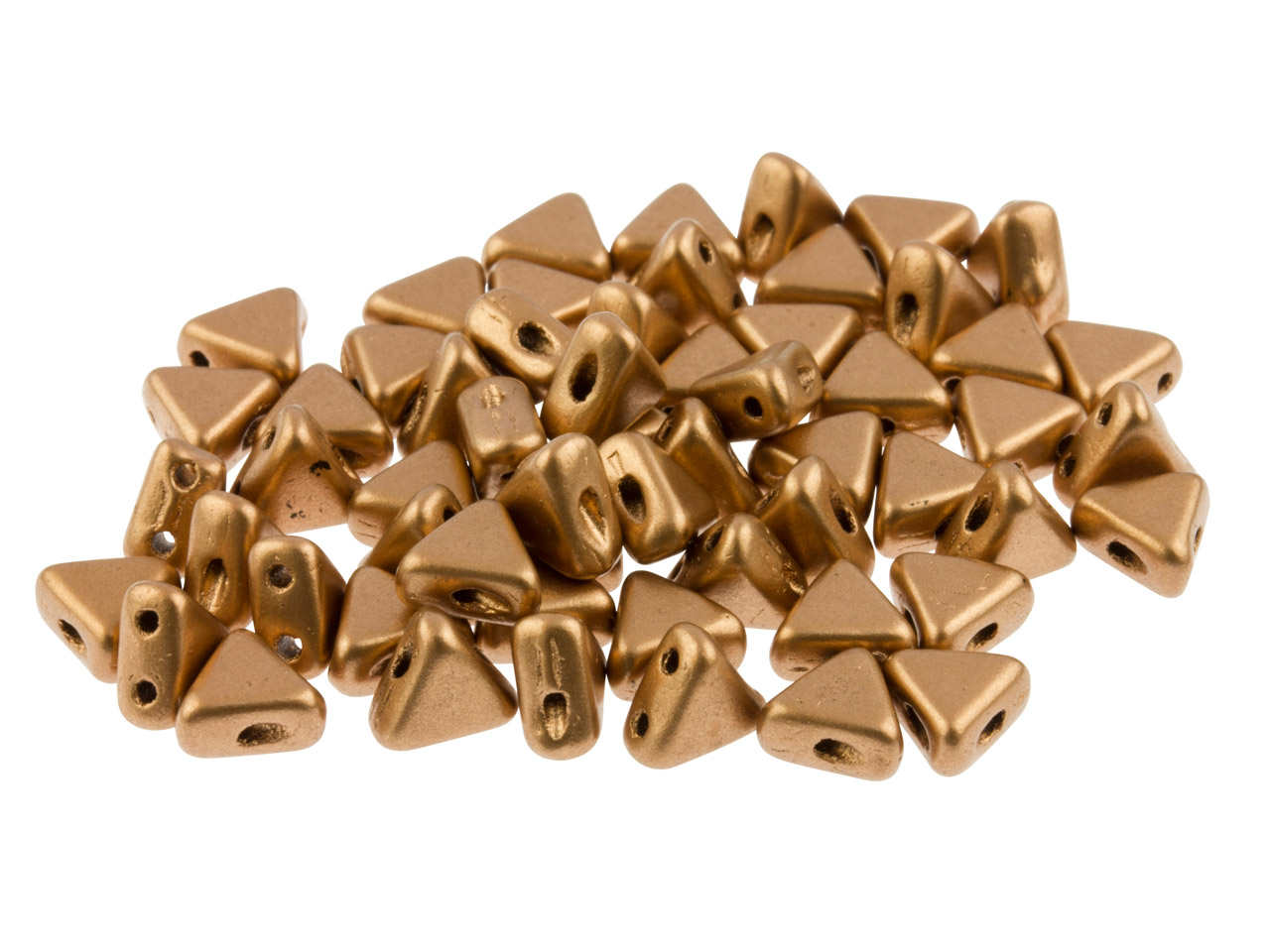 Kheops Puca 6mm Czech Beads, Copper Gold Matte, 9g Tube, Two-holed      Beads