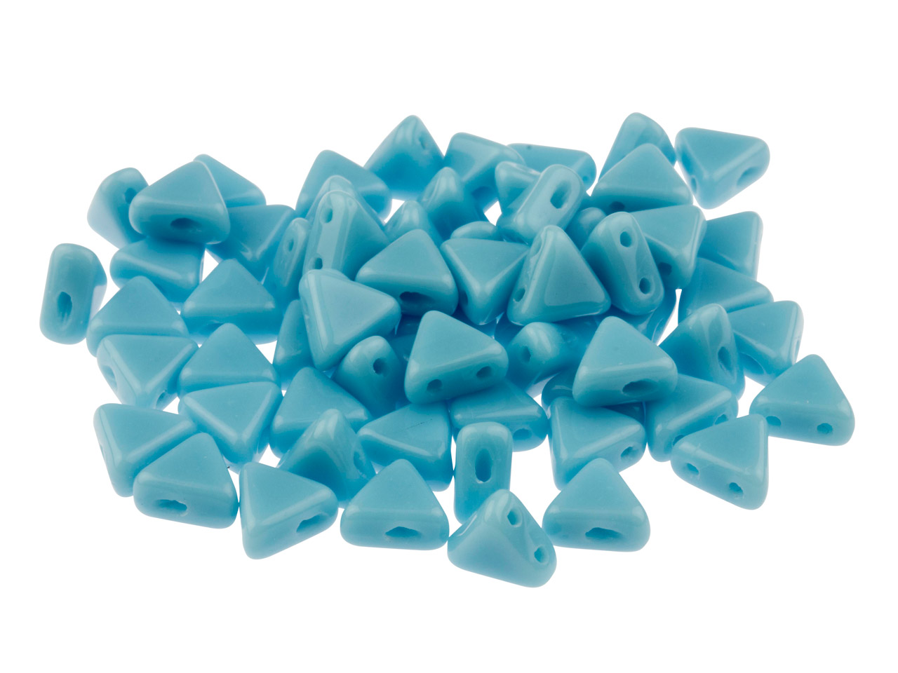 Kheops Puca 6mm Czech Beads, Opaque Turquoise, 9g Tube, Two-holed Beads