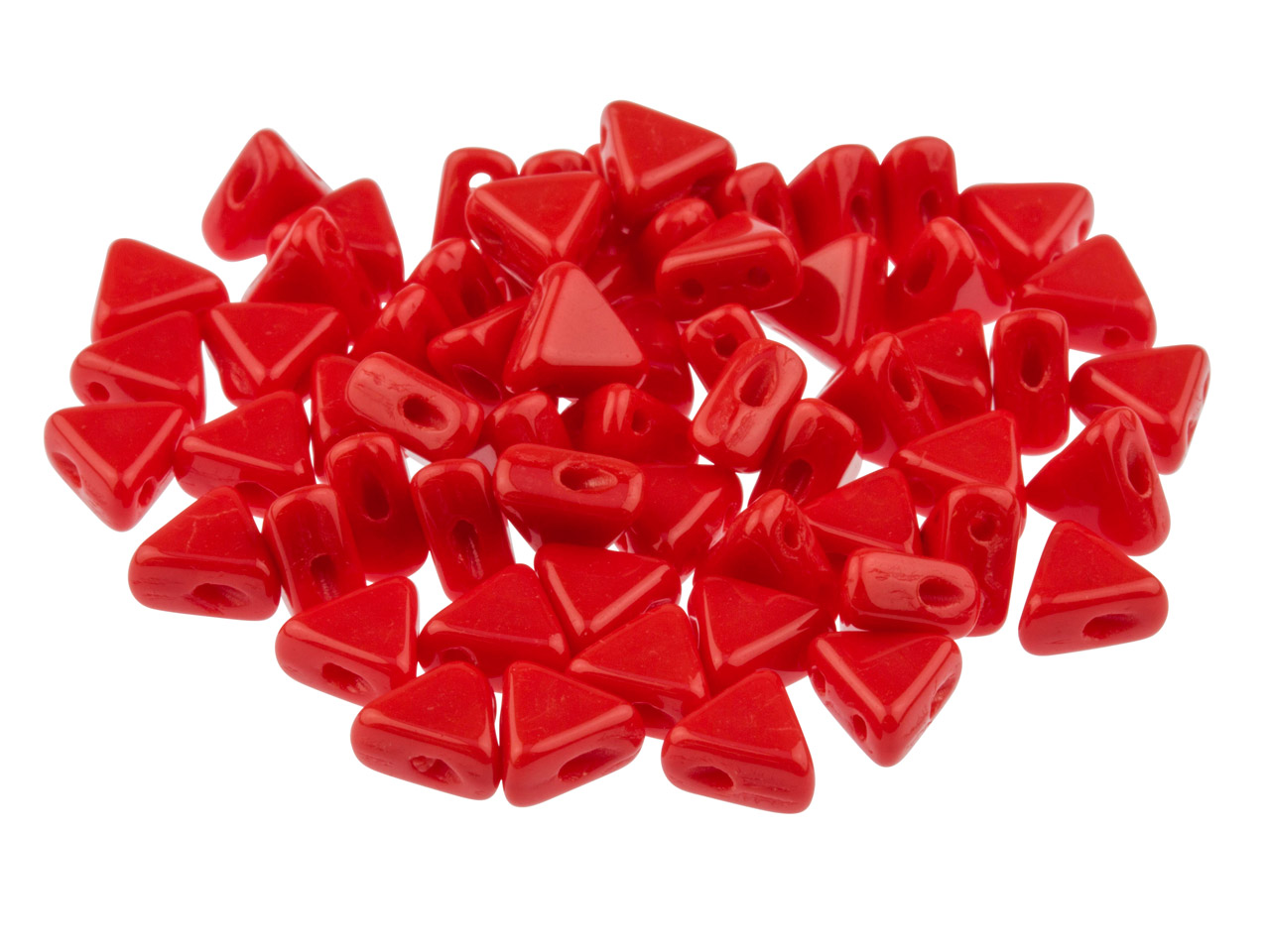 Kheops Puca 6mm Czech Beads, Opaque Coral Red, 9g Tube, Two-holed Beads