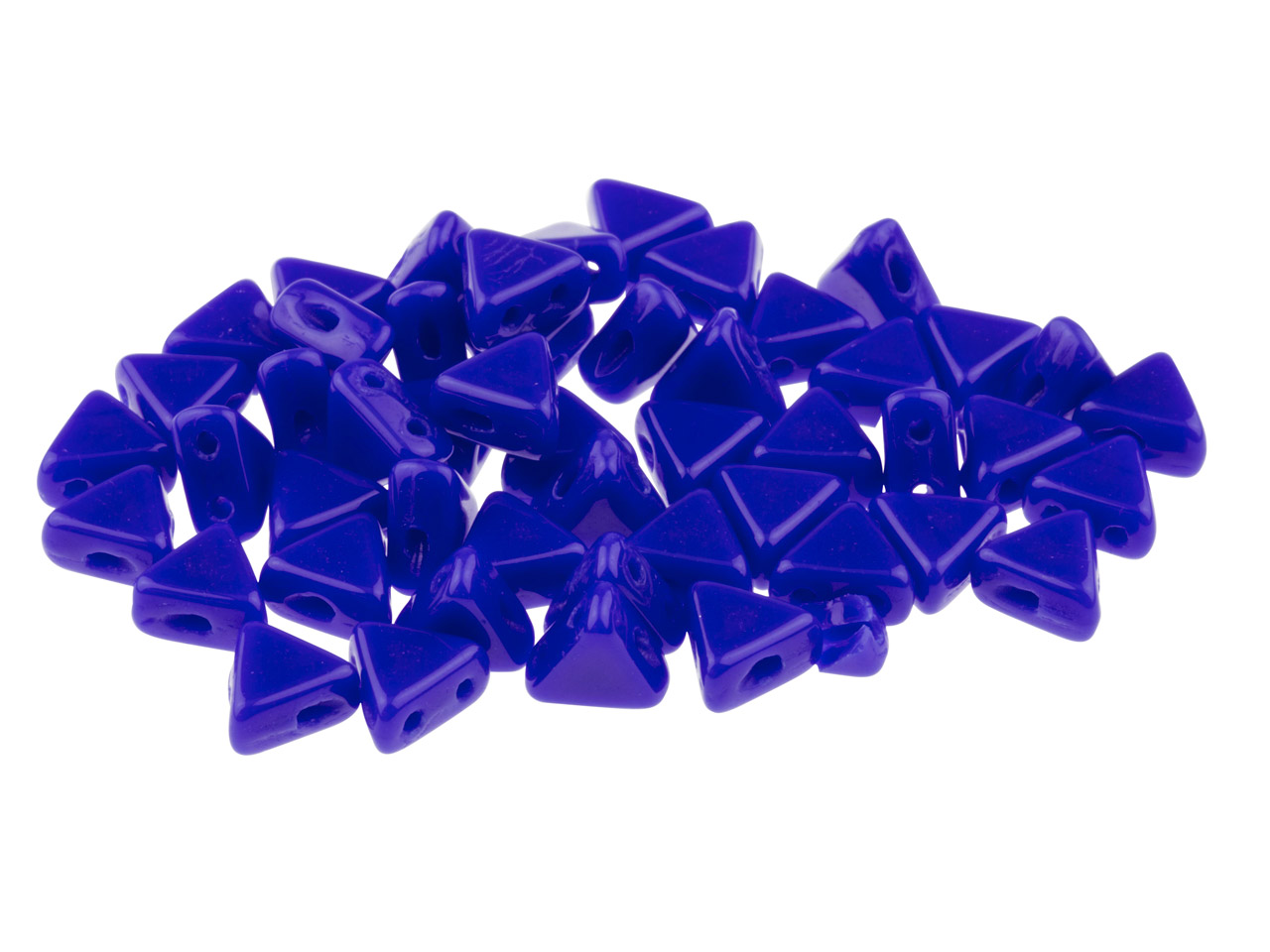 Kheops Puca 6mm Czech Beads, Opaque Sapphire, 9g Tube, Two-holed Beads