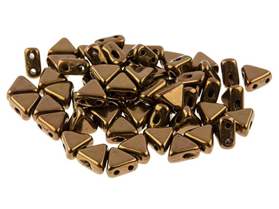 Kheops Puca 6mm Czech Beads, Dark  Bronze, 9g Tube, Two-holed Beads