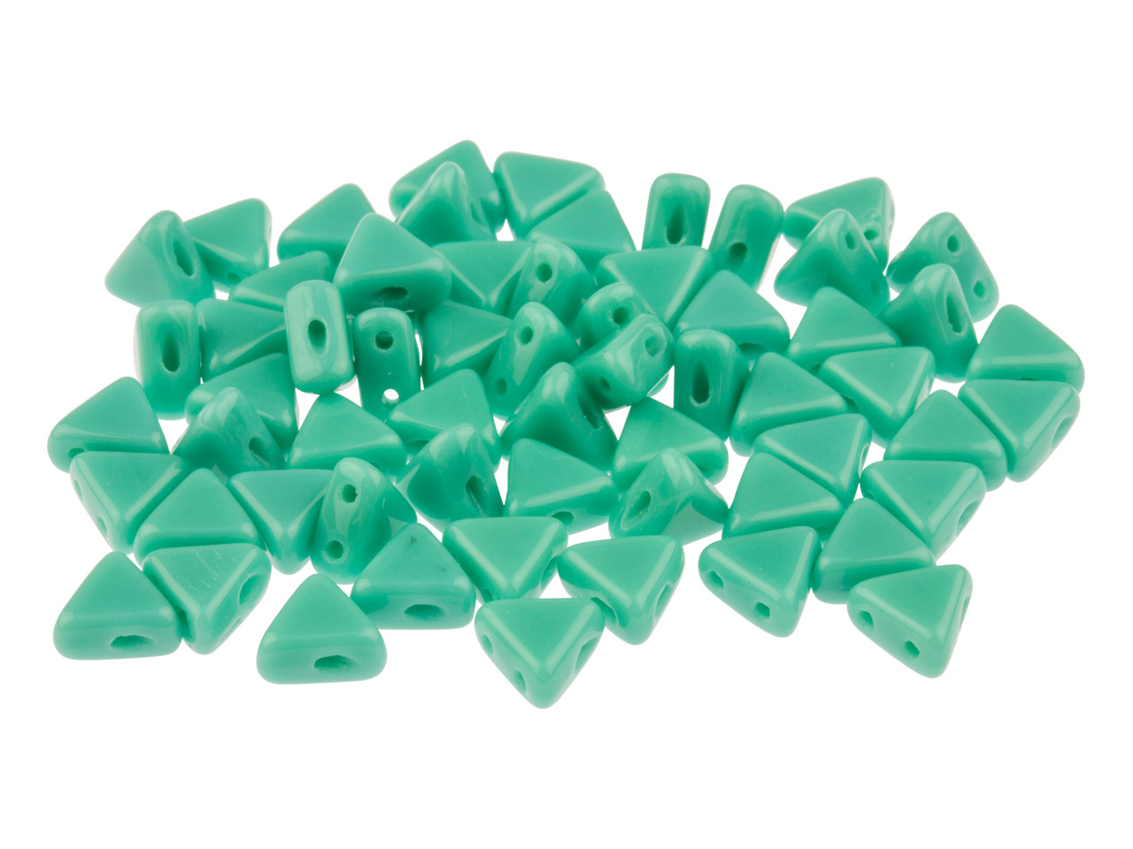 Kheops Puca 6mm Czech Beads, Opaque Green Turquoise, 9g Tube, Two-holed Beads