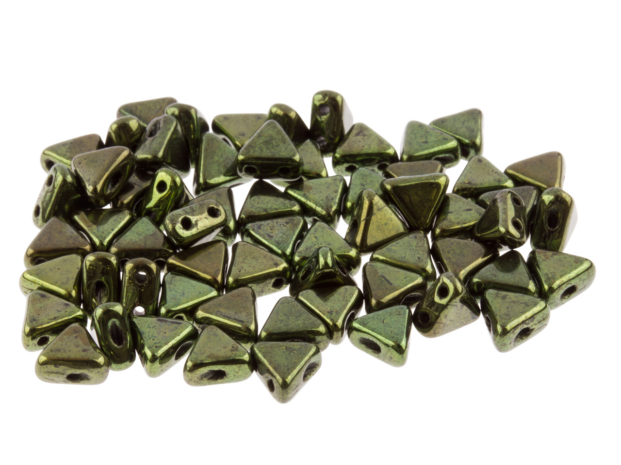 Kheops Puca 6mm Czech Beads,       Metallic Green, 9g Tube, Two-holed Beads