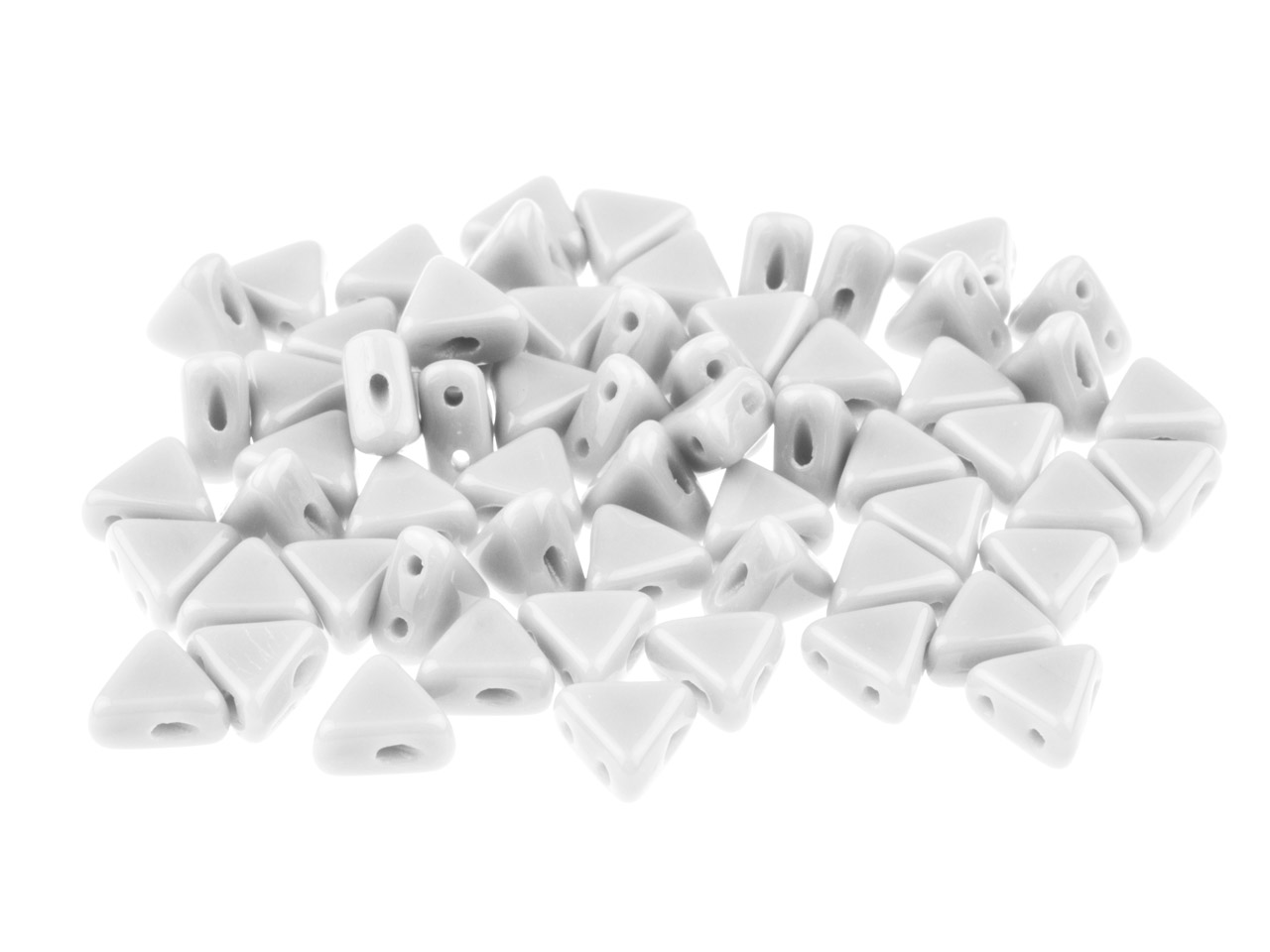 Kheops Puca 6mm Czech Beads, Opaque White, 9g Tube, Two-holed Beads