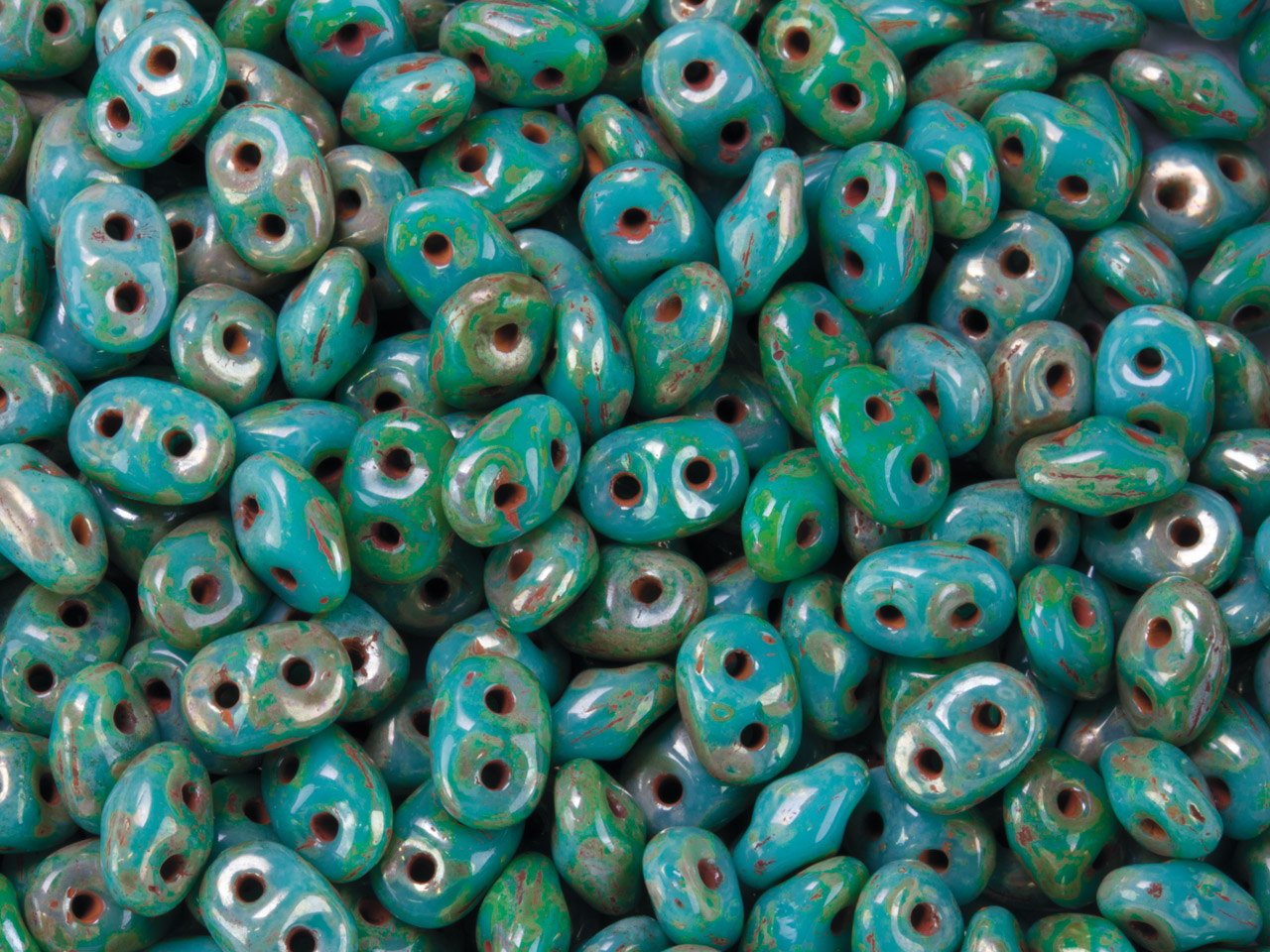 Superduo 2.5x5mm Czech Beads,      Turquoise Green/picasso, 24g Tube, Two-holed Beads