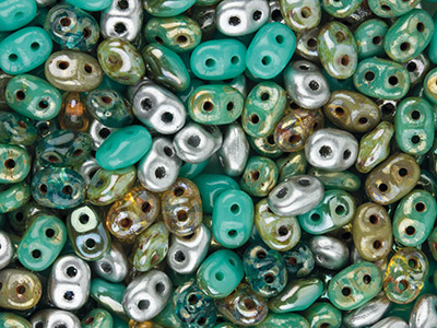 Superduo 2.5x5mm Czech Beads,      African Turquoise, 24g Tube,       Two-holed Beads