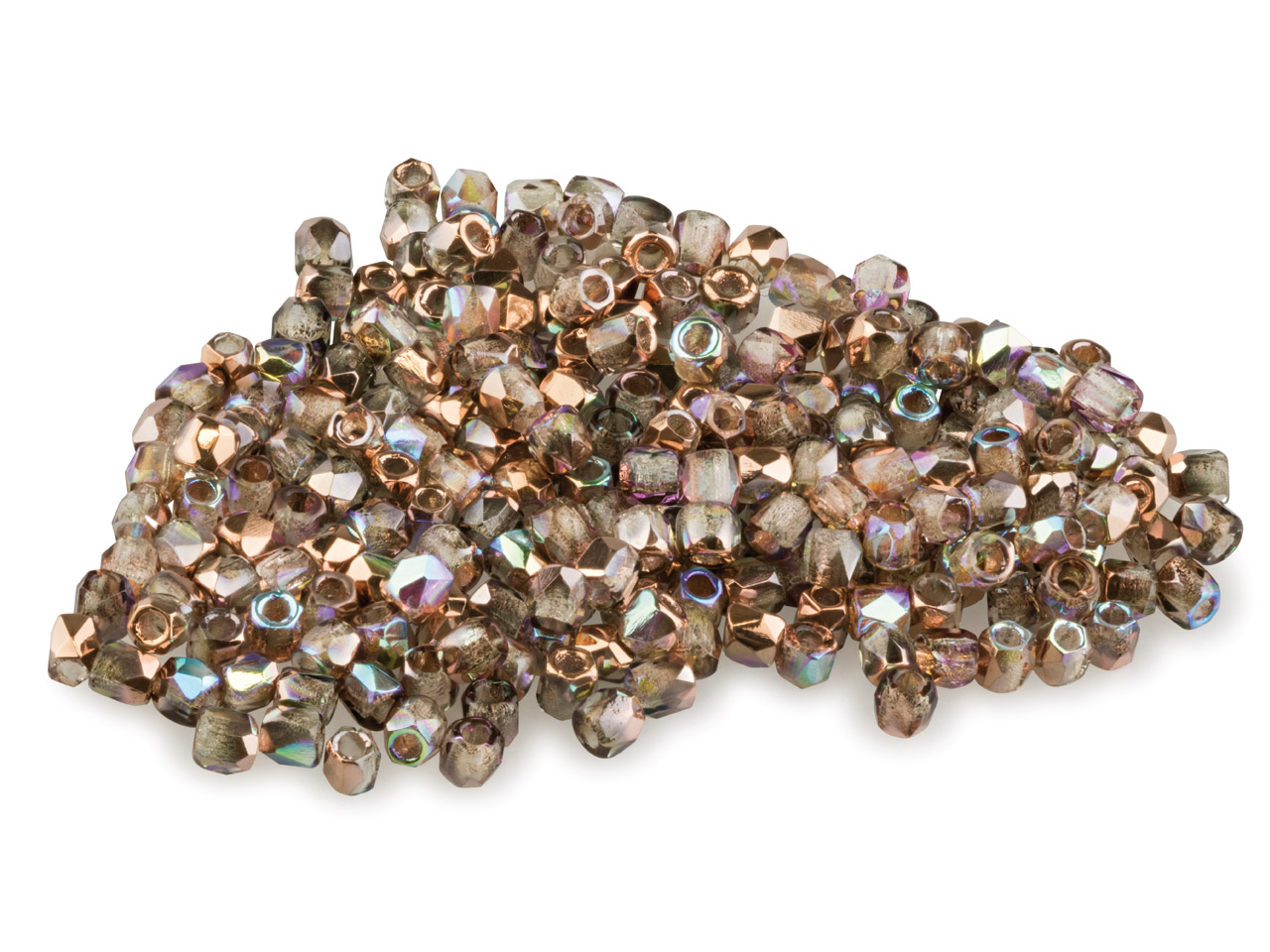 True2 2mm Czech Fire Polished      Beads, Crystal Copper Rainbow, 2g  Pack