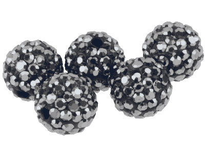 Shamballa Gunmetal Crystal 10mm Round Beads, Pack Of 5