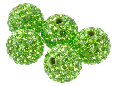 Shamballa Green Crystal 10mm Round Beads, Pack Of 5