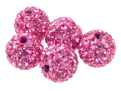 Shamballa Pink Crystal 10mm Round Beads, Pack Of 5