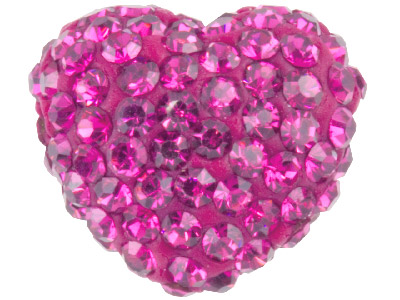 Shamballa Hot Pink Crystal 14mm Heart Bead Pack Of 1