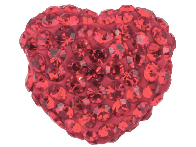 Shamballa Red Crystal 14mm Heart Bead Pack Of 1
