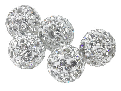 Shamballa White Crystal 10mm Round Beads, Pack Of 5