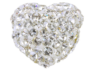 Shamballa White Crystal 14mm Heart Bead Pack of 1