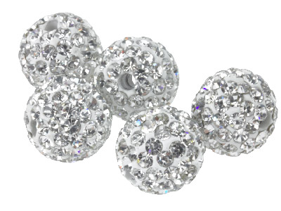 Shamballa White Crystal 8mm, Round Beads, Fully Drilled, Pack of 5