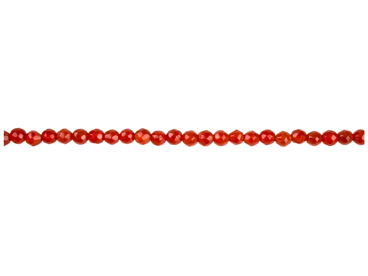 Carnelian Semi Precious Faceted    Round Beads 4mm, 16