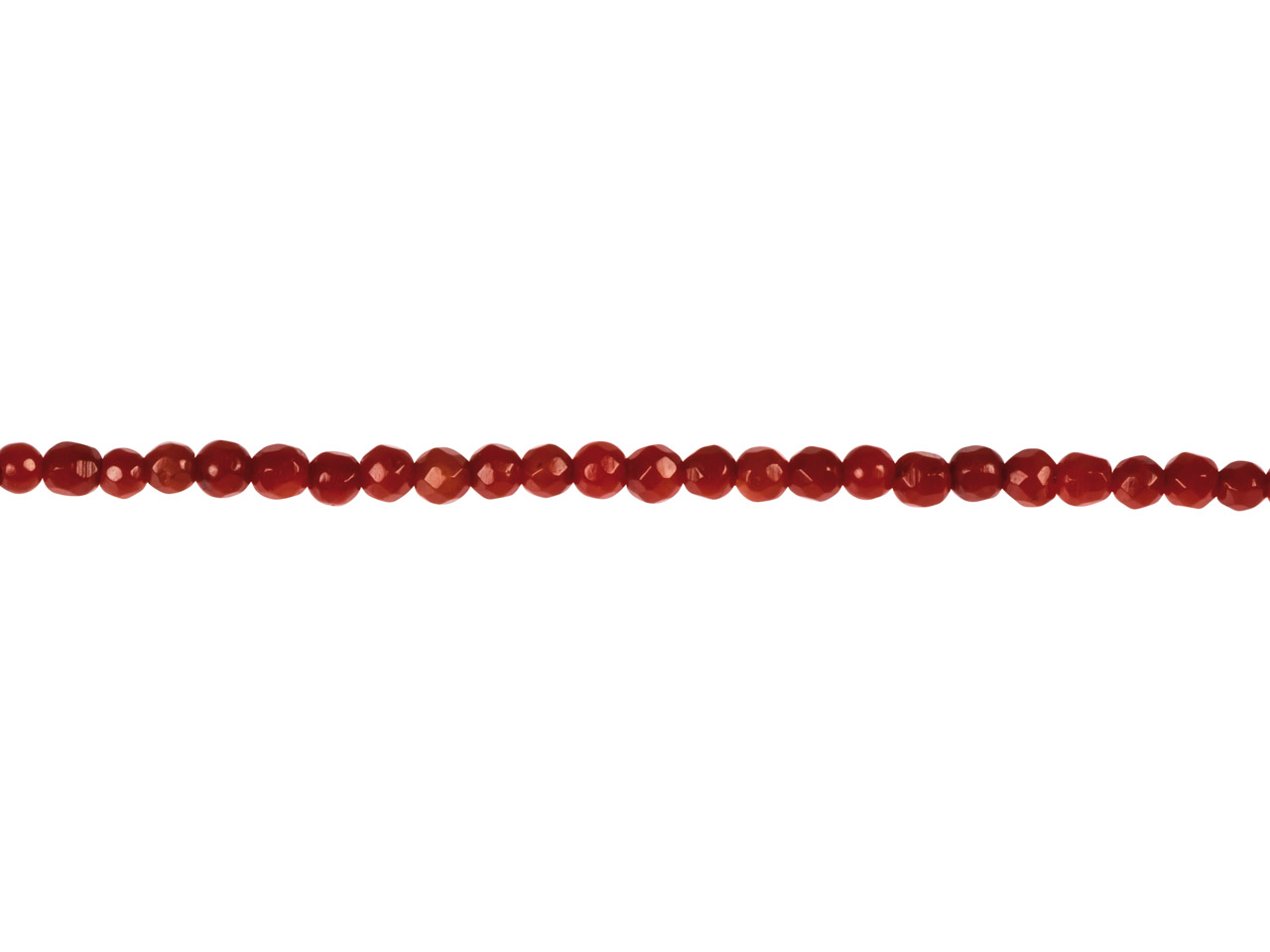 Sea Bamboo Coral Faceted Round     Beads, Red, 2mm, 15.5