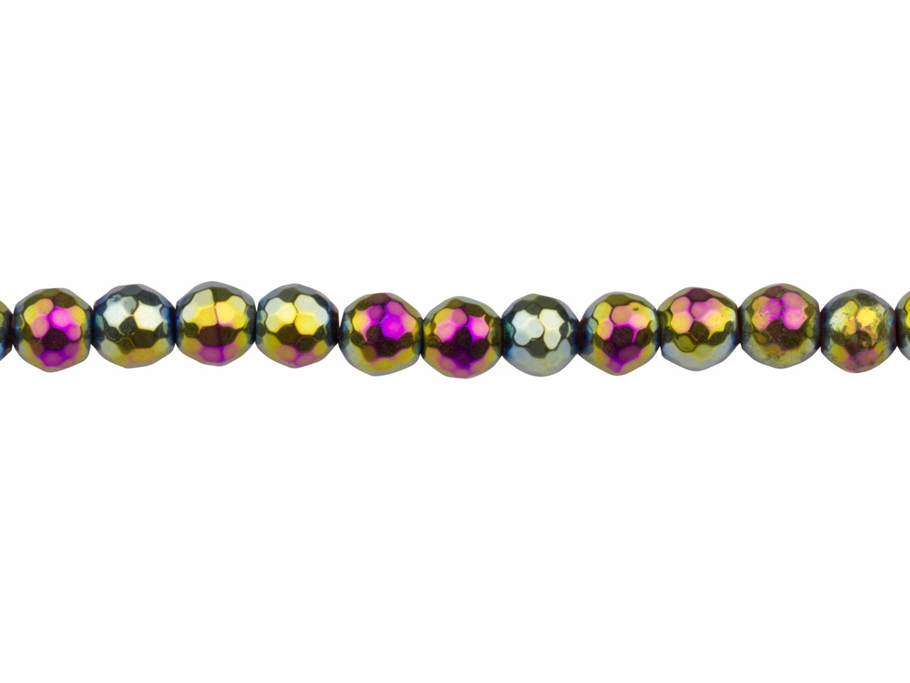 Electroplated Hematite Semi        Precious Faceted Round Beads,      Rainbow, 6mm, 16