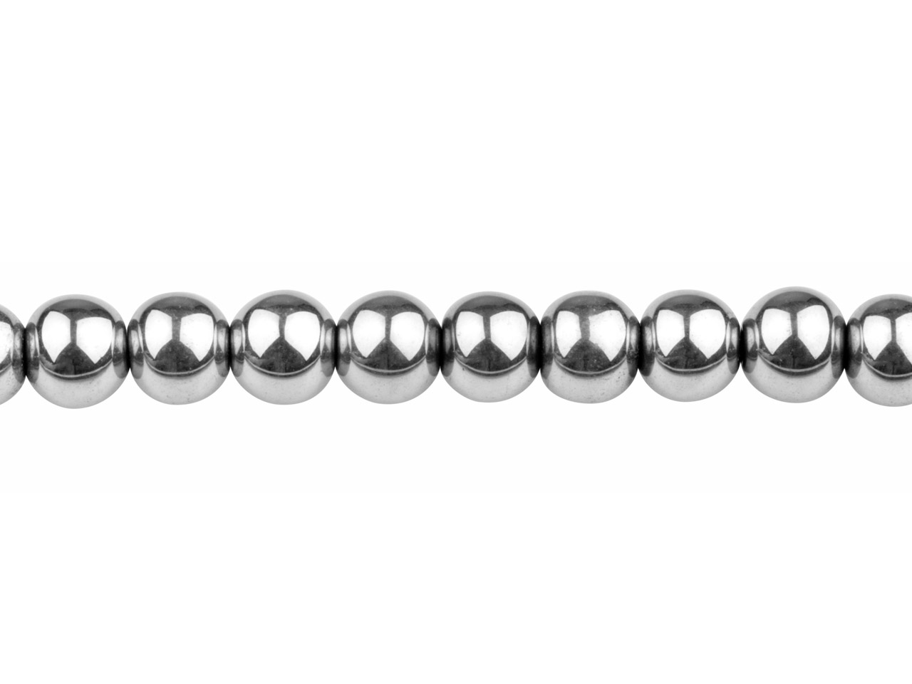 Electroplated Hematite Semi        Precious Round Beads, Sil, 8mm,    16