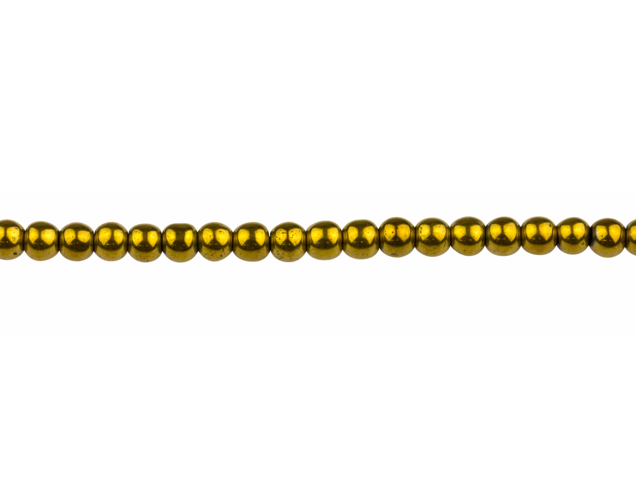 Electroplated Hematite Semi        Precious Round Beads, Gold, 4mm,   16