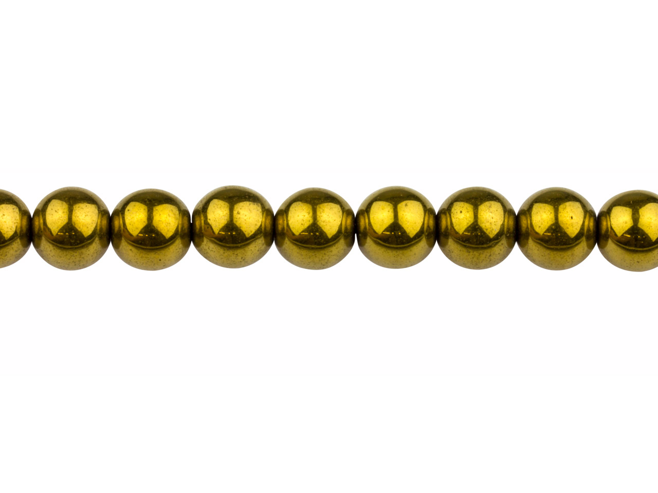 Electroplated Hematite Semi        Precious Round Beads, Gold, 8mm,   16