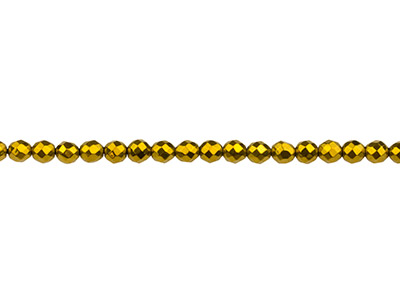 Electroplated Hematite Semi         Precious Faceted Round Beads, Gold, 4mm, 1640cm Strand