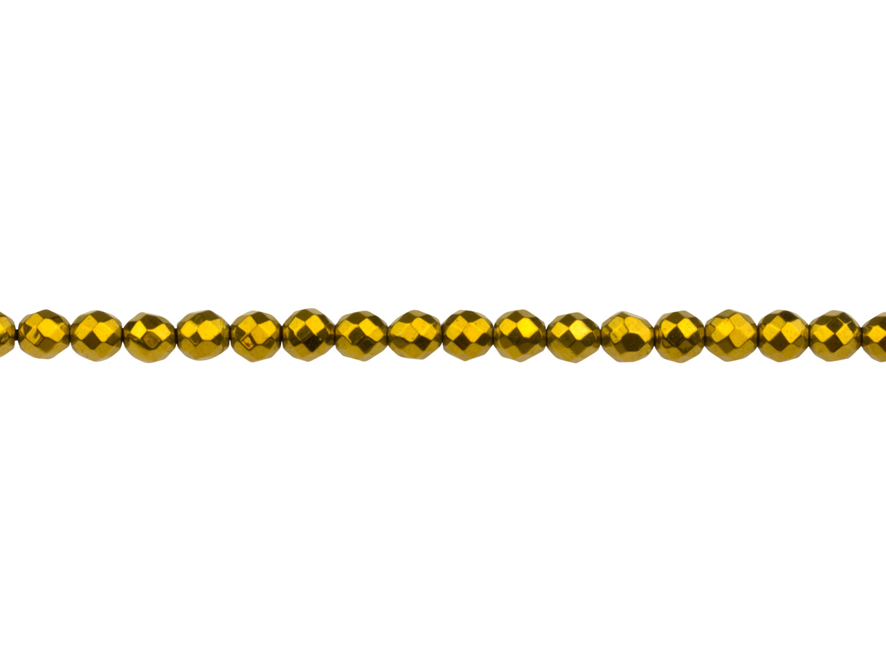 Electroplated Hematite Semi         Precious Faceted Round Beads, Gold, 4mm, 16