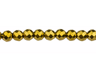 Electroplated Hematite Semi         Precious Faceted Round Beads, Gold, 8mm, 1640cm Strand