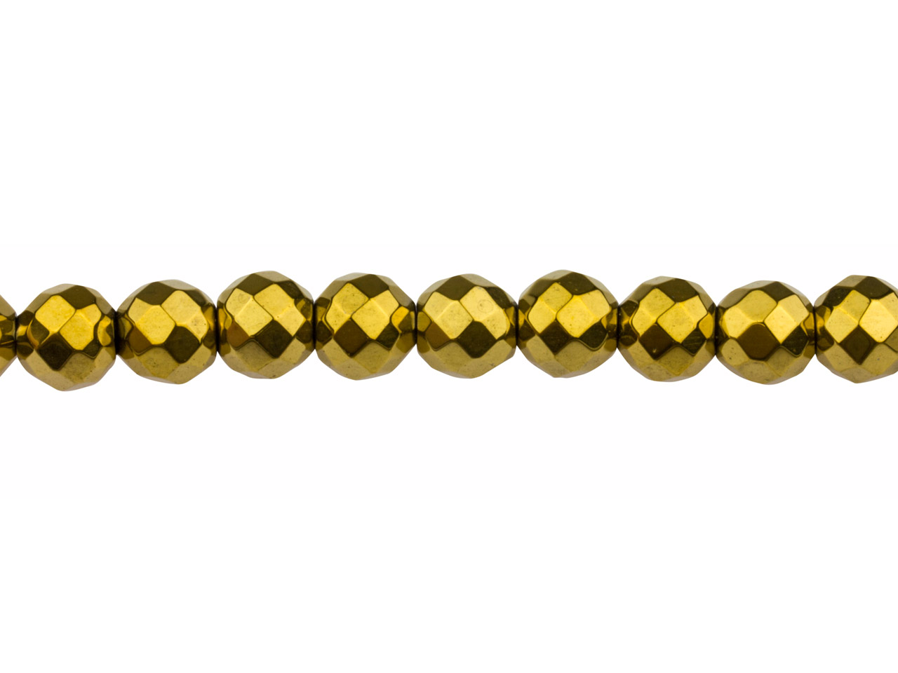 Electroplated Hematite Semi         Precious Faceted Round Beads, Gold, 8mm, 16