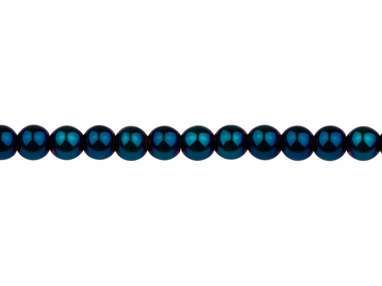 Electroplated Hematite Semi        Precious Round Beads, Blue, 6mm,   16