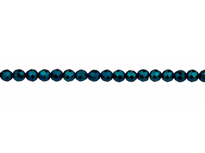 Electroplated Hematite Semi         Precious Faceted Round Beads, Blue, 4mm, 1640cm Strand