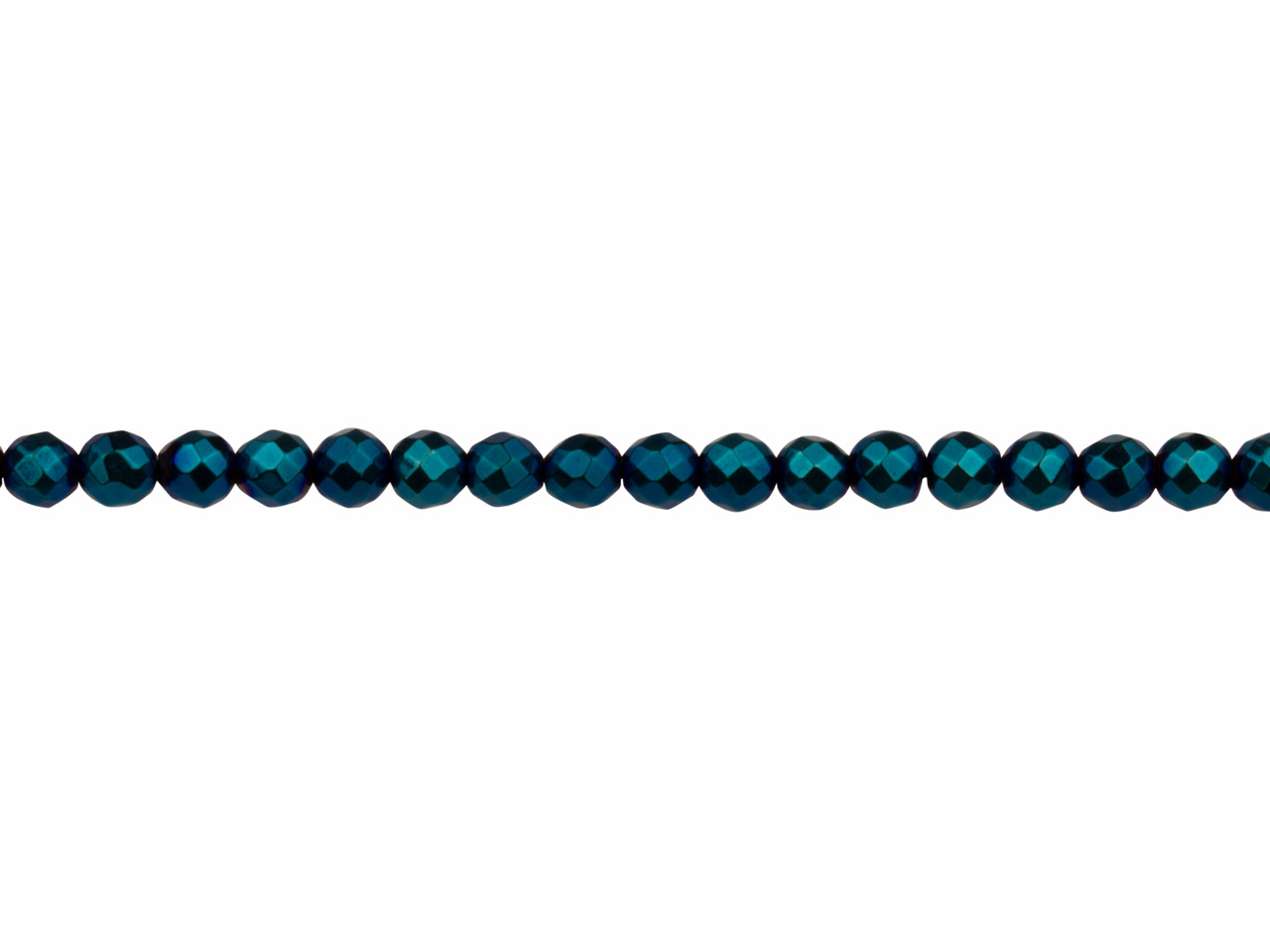 Electroplated Hematite Semi         Precious Faceted Round Beads, Blue, 4mm, 16