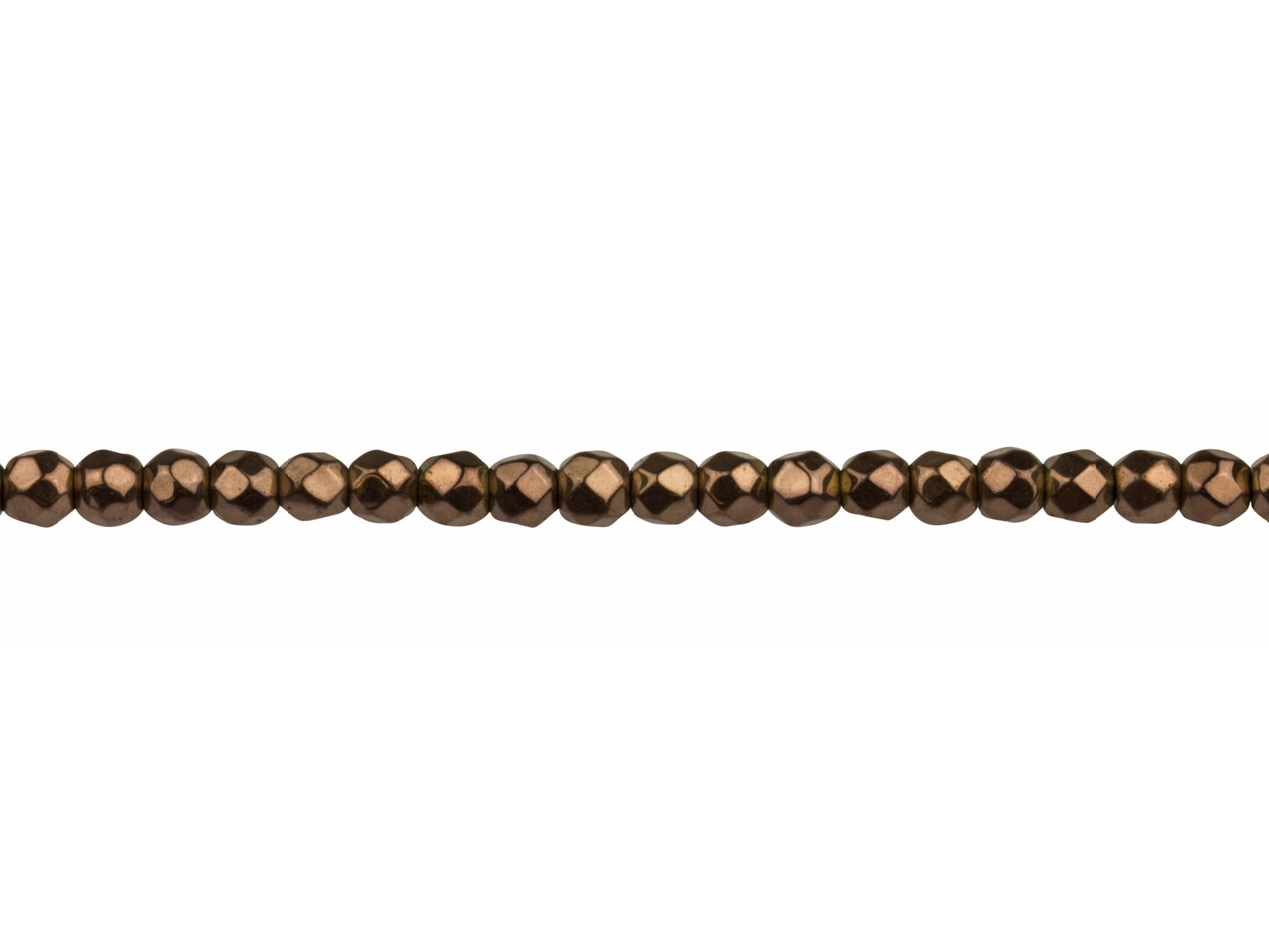 Electroplated Hematite Semi        Precious Faceted Round Beads,      Bronze, 4mm, 16