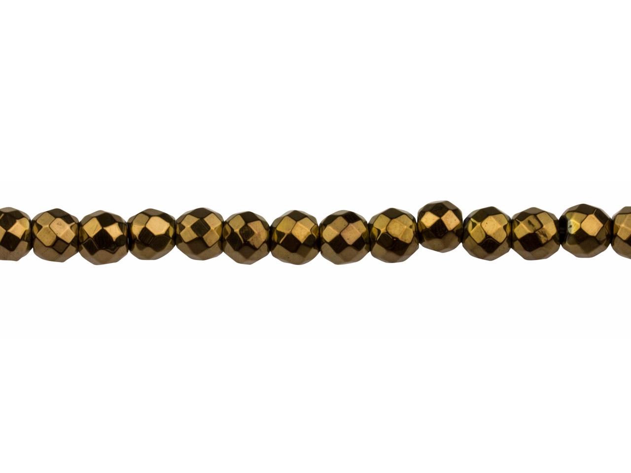 Electroplated Hematite Semi        Precious Faceted Round Beads,      Bronze, 6mm, 16