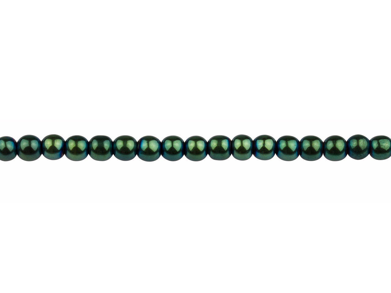 Electroplated Hematite Semi        Precious Round Beads, Green, 4mm,  16