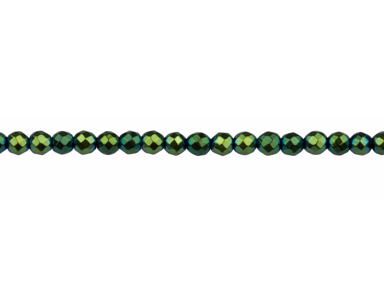 Electroplated Hematite Semi        Precious Faceted Round Beads,      Green, 4mm, 16