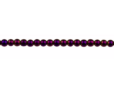 Electroplated Hematite Semi        Precious Round Beads, Purple, 4mm, 1640cm Strand