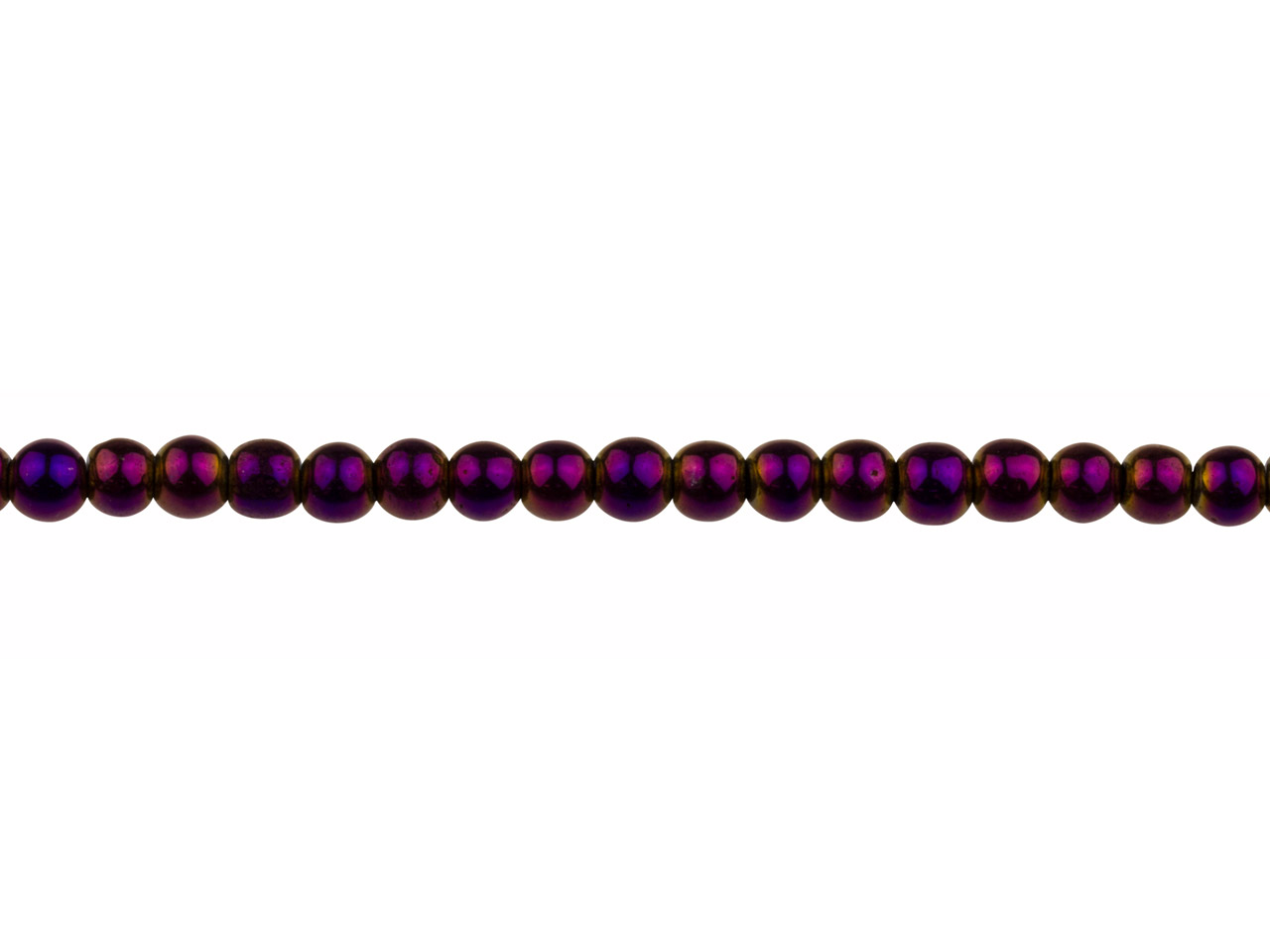 Electroplated Hematite Semi        Precious Round Beads, Purple, 4mm, 16