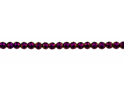 Electroplated Hematite Semi        Precious Faceted Round Beads,      Purple, 4mm, 1640cm Strand